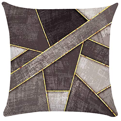 Golden Ray Metal Geometric Marble Decorative Throw Pillow Case Two-Sided Printed Cushion Cover Couch Pillow Cases (10,18'x18')