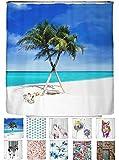 arteneur® - Strand - Anti-Schimmel Duschvorhang 180x200 - Beschwerter Saum, Blickdicht, Wasserdicht, Waschbar, 12 Ringe und E-Book mit Reinigungs-Tipps