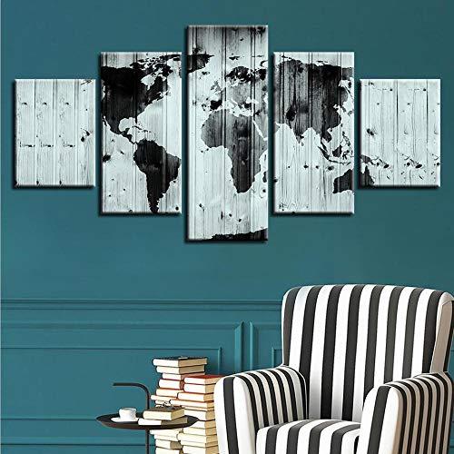 Muurkunst, HD print, zwart, vintage, houten plank, wereldkaart, canvas, muurkunst, schilderkunst, voor woonkamer, decoratie, geschenk 200cm(Breite) x 100cm(Höhe) Geen lijst