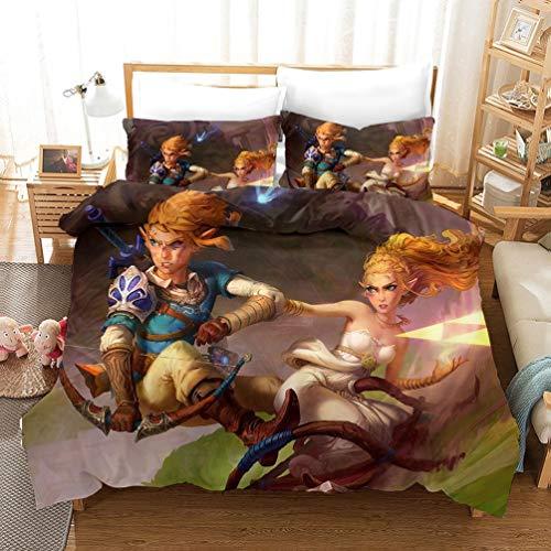 DCWE The Legend of Zelda - Juego de Cama Infantil con Funda de edredón y Fundas de Almohada 100% Microfibra, impresión Digital 3D, 13, 140 x 210 cm
