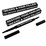 Best Beard & Hair Filler Pen / Pencil & Brush - Instantly Fill Patches & Thin Areas for a Perfect Beard & Hairline - More Effective Than Hair Fiber - Waterproof - Vegan w/ Vitamin E for Healthy Growth