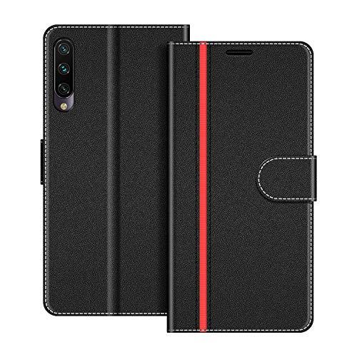 COODIO Handyhülle für Xiaomi Mi A3 Handy Hülle, Xiaomi Mi A3 Hülle Leder Handytasche für Xiaomi Mi A3 Klapphülle Tasche, Schwarz/Rot