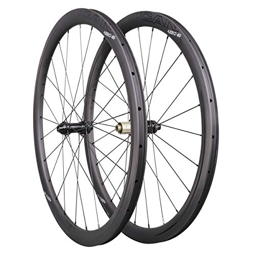 ICAN Ruedas de Carbono Aero 40 Disc Ruedas de Bicicleta de Carretera 40mm Clincher tubeless Ready Disco Freno 12x100/12x142mm sólo 1355g