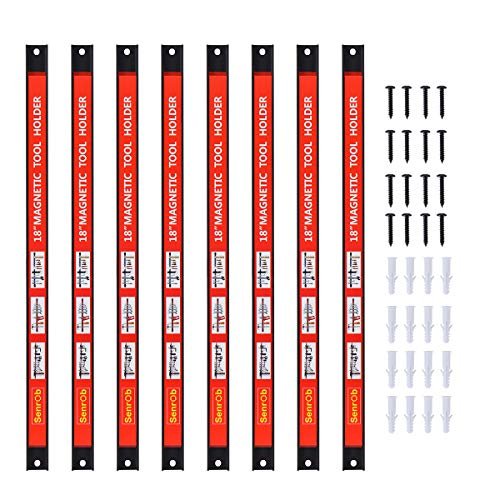 Magnetic Tool Holder 18 Inch 8 Pack Heavy Duty Magnet Tool Bar Strip Rack Wall Mount Red