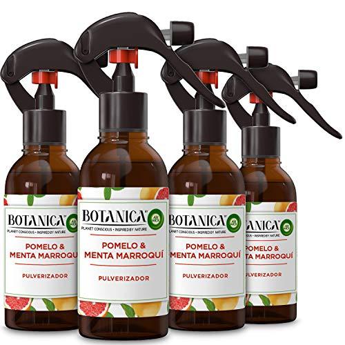 Botanica de Air Wick - Ambientador Pulverizador, Esencia para casa con aroma a Pomelo y Menta Marroquí - Pack de 4
