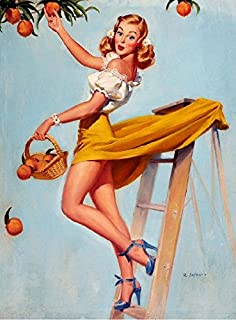 A SLICE IN TIME 1940s Pin-Up Girl What a Peach Picture Poster Print Art Pin Up. Poster Measures 10 x 13.5 inches.