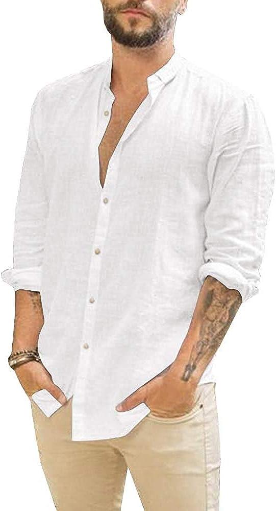 JEKAOYI Mens Summer Casual Cotton Linen Shirts Buttons Down Long Sleeve Solid Plain Beach T Shirts