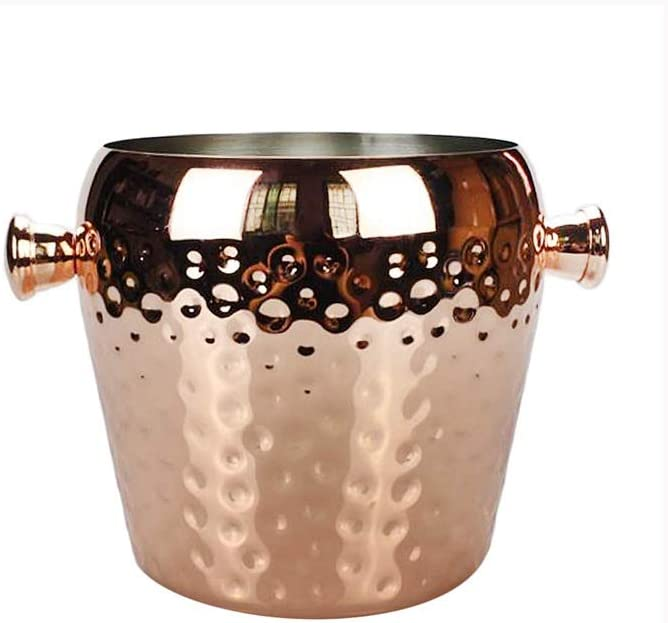 WJCCY Rose Gold Ice Bucket - Wall Double Barrel W Max 82% OFF Cooler Ultra-Cheap Deals Hammer