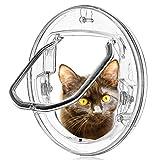 Smilelove Katzenklappe Haustierklappe Kleine Hunde Katzen Tür mit 4 Möglichkeiten Verriegeln Runde Klar Katze Klappe mit Tür Liner Kit Best