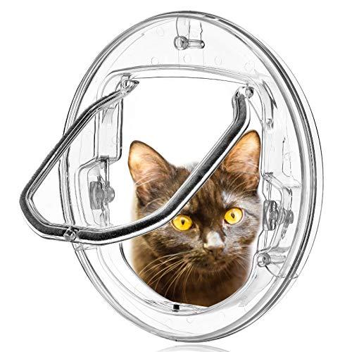 Gattaiola per Vetro Porta Basculante per Gatti e Cani Grande con 4 Possibilità di Bloccaggio (Rotonda Trasparente)
