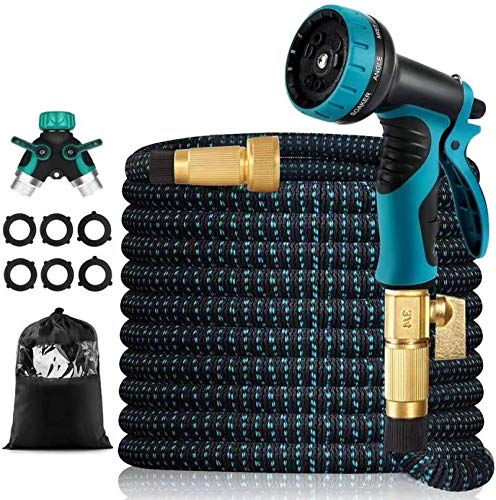 """50 FT Expandable Garden Hose,Upgraded Leakproof Flexible Water Hose with 9 Function High-Pressure Spray Nozzle and 4-Layers Flex Strong Latex, with 3/4"""" Hose Splitter for Watering and Washing"""