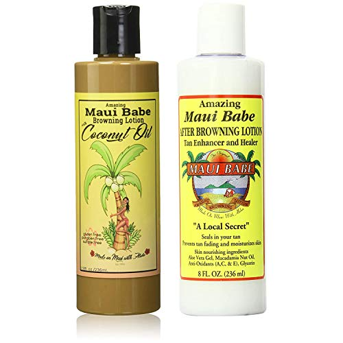 Maui Babe Tanning Pack! Includes Browning Lotion with Coconut Oil 8 oz, After Browning Lotion 8 oz, and Tote Bag! Infused With Skin Nourishing Ingredients! Prevents Tan Fading And Moisturizes Skin!