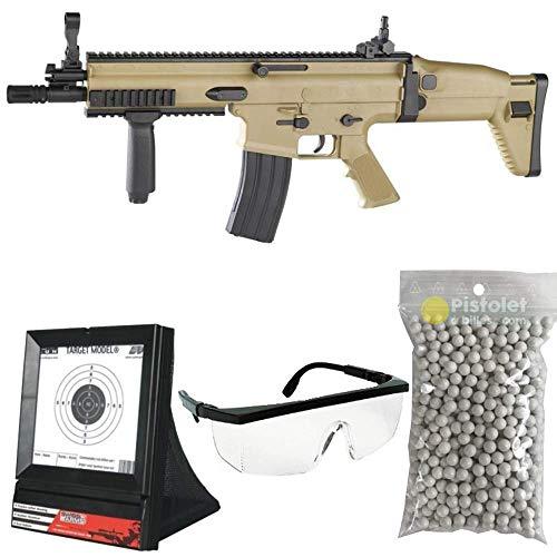pacchetto completo replica + accessori FN Scar L a molla, potenzia 0,5 Joule Caricatore 350 pallini pallini, bersaglio e occhiali protettivi campo di tiro da 25 a 30 metri