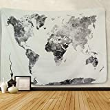 PANDAYAQ Watercolor World Map Tapestry Gray Map Splatter Abstract Painting Tapestry Wall Hanging Tapestry for Room