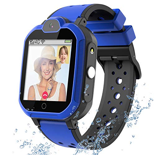 4G GPS Kids Smartwatch Phone - Boys Girls Waterproof Watch with GPS Tracker 2 Way Call Camera Voice & Video Chat SOS Alarm Pedometer WiFi Wrist Watch Birthday Back to School Gifts for Students,4G Blue