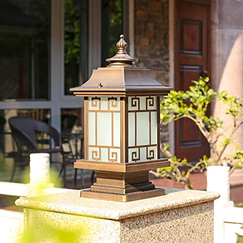 Pointhx Outdoor Retro Chinese Column Lamp E27 Waterproof Antique Vintage Post Bollard Light Aluminum Metal External Community Pillar Lantern Garden Pillar Light