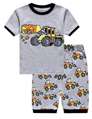 Little Hand Schlafanzug Jungen Kurz Boys Pyjamas Shorts Dinosaurier Bagger Feuerwehrauto Bulldozer Krake Kinder Sommer Schlafanzug Baumwolle Kurz Nachtwäsche 92 98 104 110 116 122