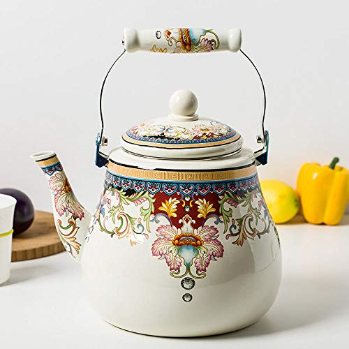Teteras Utensilios Para Café Y Té Teteras Para Fogón Teteras De Émbolo Full Flower Enamel Kettle Milk Teapot Bottom Flat Pot Cooker De Inducción Universal Teapot Jug @ D