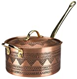 Demmex 2021 Handmade Engraved Copper Saucepan with Lid Helper Handle, 1.2mm Copper (6.7' x 4')