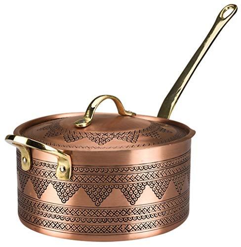 "Demmex 2019 Handmade Engraved Copper Saucepan with Lid Helper Handle, 1.2mm Copper (6.7"" x 4"")"