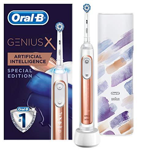 Oral-B Genius X Special Edition Elektrische Zahnbürste mit künstlicher Intelligenz & Premium Lade-Reise-Etui, rose gold