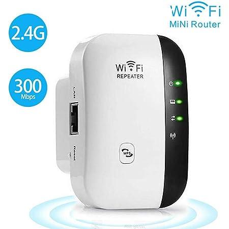 Aesy 300 Mbit/s WiFi Repetidor Amplificador de Señal WiFi Access Point Repetidor WiFi Booster 2,4 GHz, 1 x Puerto de Ethernet Rápido, WPS, Compatible ...