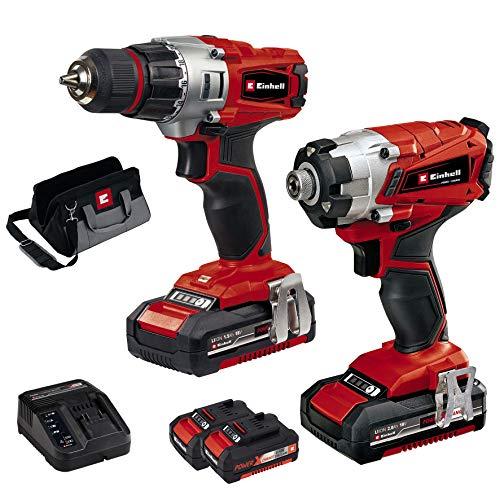 Einhell 4257232 Kit de atornillador, 250 V, rojo/negro, modelo con taladro y 2 baterías de 1,5 Ah