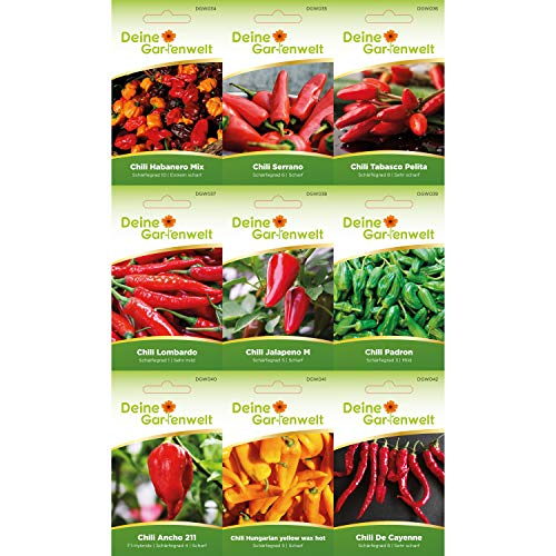 Chilisortiment | Chili-Set mit 9 Sorten Samen | Chilisamen-Sortiment | Chilisamen-Set