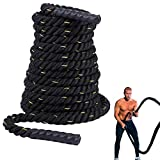 Domaker Battle Exercise Training Rope,1.5 inch Heavy Battle Rope,100% Poly Dacron Fitness Rope with Protective Sleeve for Cardio Workout,Crossfit,Home Gym,30ft