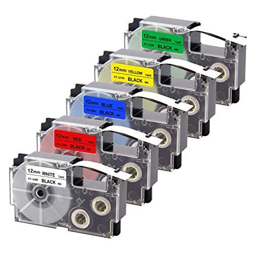 UniPlus Compatibile EZ-Label Tape Compatibile per Casio XR-12WE XR12RD XR-12BU XR-12GN XR-12YW Nastri per Etichette per Casio KL-60 KL-120 KL-820 KL-60SR KL-70e KL-100e, 12mm x 8m, Multicolore, 5 Pz