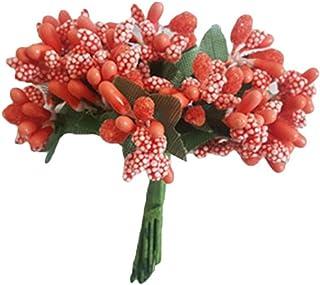 Amosfun 12pcs Mini Baies Artificielles Pistil Fleur Artificiel Étamine pour Fleur Artisanat Bricolage Décoration Mariage F...