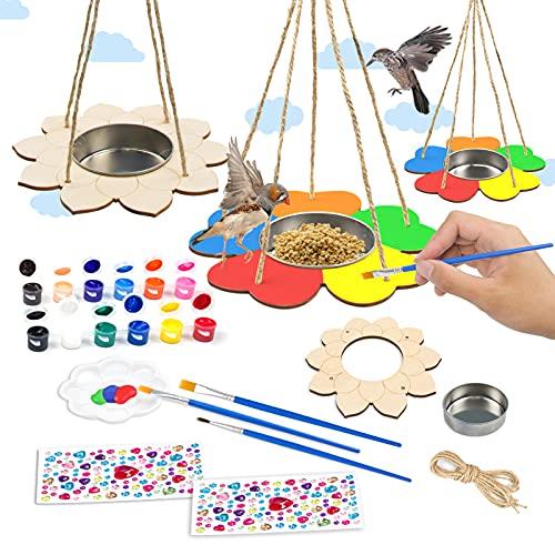4Pcs WoodenBirdFeeder Craft Kits for Kids, JC-Houser Art and...