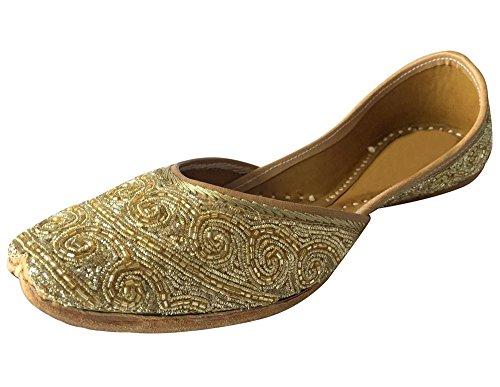 Step n Style Damen-Schuhe, handgefertigt, Lederperlen, Khussa, Ballerinas, Party, Juti, Gold - gold - Größe: 40.5 EU
