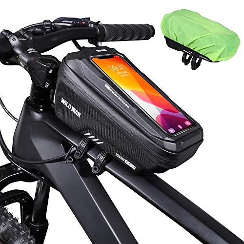 ENONEO Borsa Telaio Bici, Borsa Bicicletta Impermeabile con Grande capacità e Touchscreen Sensibile Borsa da Manubrio Borsa Porta Telefono Bici MTB Adatto per Telefoni sotto 6.5 Pollici (Nero)