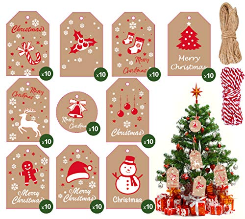 Christmas Gift Tags, 100 Pcs Brown Kraft Paper Tags Card with Cotton String and Twine String, Small Xmas Present Labels Hanging Tags with String for Christmas Gifts Wrapping DIY Craft Decoration