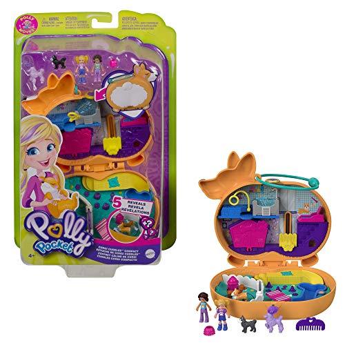 Polly Pocket Coffret Univers Hôtel de Corgi, mini-figurines Polly, Shani et leurs 2 chiens, surprises incluses, jouet pour enfant, GTN13