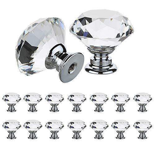Pomelli in vetro-cristallo per ante di armadio, 30mm, per mobili e cassetti, con vite, trasparente
