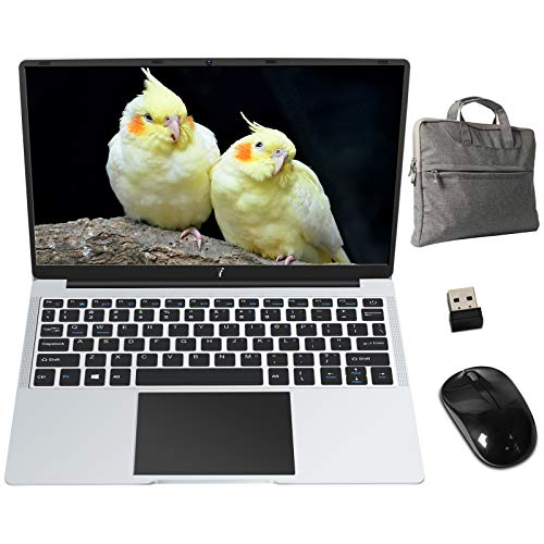 PC Portatile 14.1 Pollici FHD 1920 x 1080 Notebook con Intel Celeron 6 GB RAM 64 GB SSD Windows 10 64 Bits, Supporta SD/TF 512GB, WiFi | Webcam | Bluetooth | HDMI, con Mouse e Borsa PC, Argento Scuro