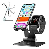 Cell Phone Stand for Apple Watch - OMOTON 2 in 1 Aluminum Foldable Charging Dock Stand for Apple Watch 5/4/3/2/1 and iPhone SE/11/11 Pro/11 Pro Max/XR/Xs/Xs Max (Black)