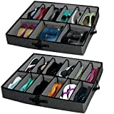 "Woffit ""THE ULTIMATE UNDER BED STORAGE ORGANIZER"" with Adjustable Dividers that fit EVERY SIZE Shoe, Boots, Heels & Accessories - Set of 2 Underbed Organizers Fits 24 Pairs Kids, Men & Women Shoes"