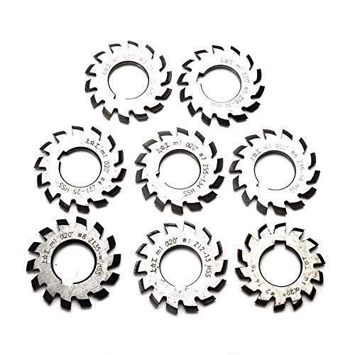 8pcs HSS M1 PA20 20 Degree Involute Gear Cutters Set #1-8 Assortment Kit for Milling Machine Tool