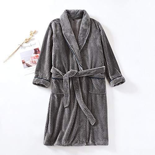 YEESEU Giapponese Kimono Nuova Coppia Inverno Plus Velvet Pigiama Spessa Pigiama Uomo Abiti da Uomo Flanella Ladies Nightgown Servizio casa Robe Robe 155 (Color : Male, Size : L)