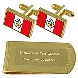Select Gifts Perú la Bandera de Tono Oro Gemelos Money Clip Grabado Set de Regalo