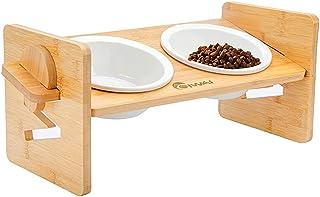 猫食器 犬食器 ペットの食器 ペット 食器スタンド フードボウル 水ボウル 犬,猫用 セラミックボウル 陶磁器碗 竹製 高さ調節可能 (36*14.2cm 斜め餌台面 小型)