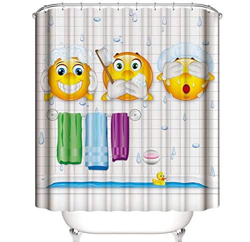 "A&S Creavention Funny Design Shower Curtain 70"" x 70"" Standard Size, 1pc (Shower Emoji)"