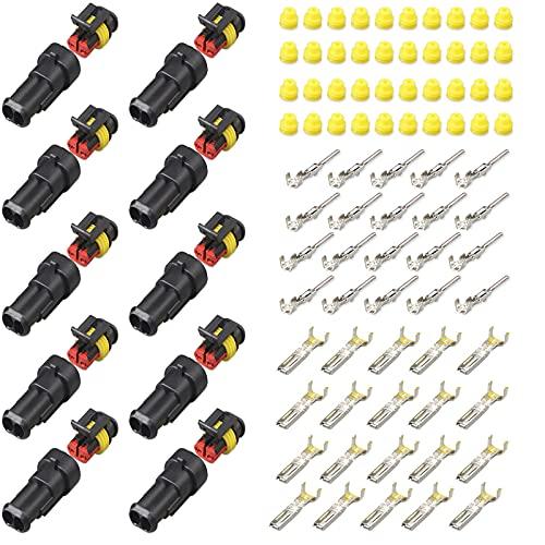 10 Juegos de Conectores Eléctricos Coche, Enchufe Impermeable del Coche del Pin, Adecuado para Conector de Cable de Coche Motocicleta Scooter Barco de Coche (Kit de 2 Pines x 10)