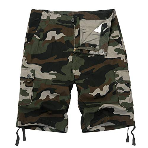 IDEALSANXUN Men's Casual Loose Camouflage Military Twill Cargo Shorts (Green camo, 40)