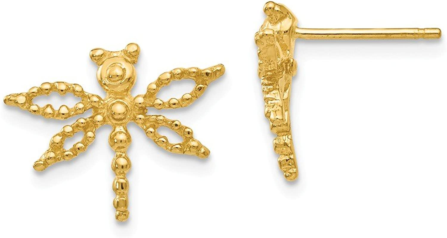 Beautiful Yellow gold 14K Yellowgold 14k Dragonfly Earrings