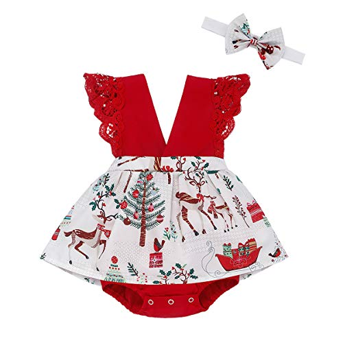 Baby Christmas Outfits Newborn Girls Sleeveless Reindeer Bodysuit Romper Tutu Dress with Headband Set