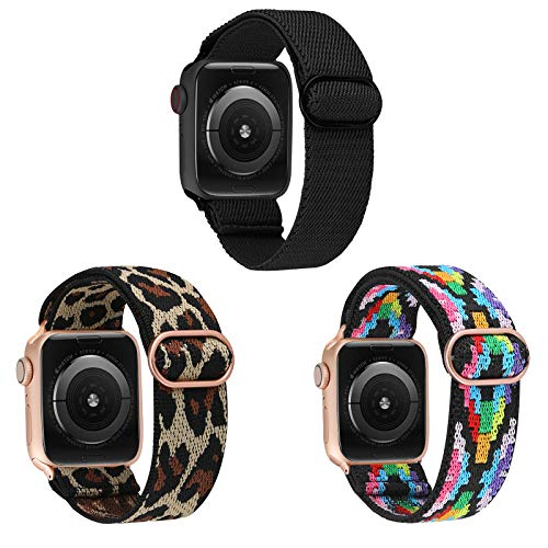 TOYOUTHS 3 Packs Compatible with Apple Watch Band Solo Loop Elastic Stretchy Soft Pattern Printed Fabric Nylon Adjustable with Buckle Rose Gold Women Men IWatch Bands 42mm/44mm Series SE 6 5 4 3 2 1